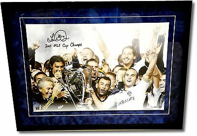 Landon Donovan Signed 16x24 Galaxy 2011 MLS Cup Suede Floating Framed UDA 10/50