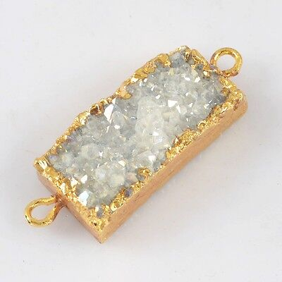 Rectangle Natural Agate Druzy Titanium AB Connector Gold Plated B021324