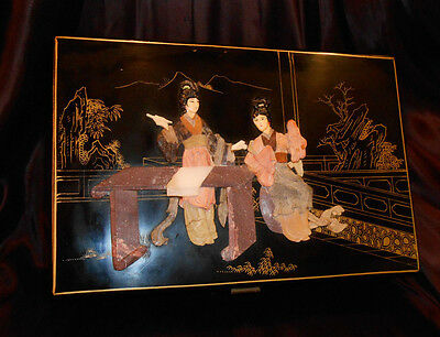 VTG JAPANESE LACQUER JEWELRY BOX w COLORFUL CARVED JADE SOAPSTONE 2-GEISHA SCENE