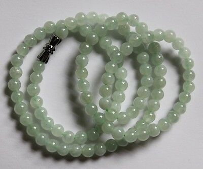 CERTIFIED Natural (Grade A) Untreated Icy Green Jadeite JADE Round Bead Necklace