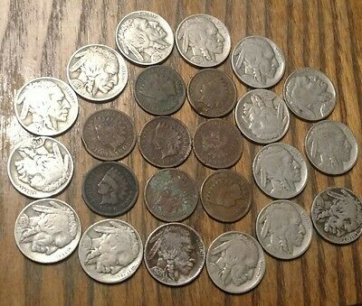 Old US Type coins Mix of Buffalo nickels, Indian cents