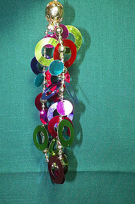Colorful Circle Cutouts and Beaded Drop Christmas Tree Ornament new plastic