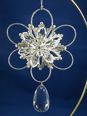Silver Glittered Snowflake with Jewel Dangle Christmas Tree Ornament new holiday