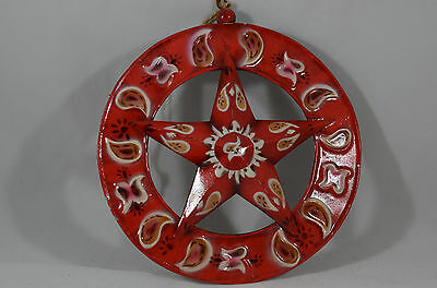 Red Western Pattern Star Christmas Tree Ornament new holiday