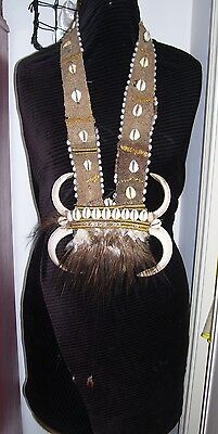 Old PNG Boar Tusk Necklace-Bride Price -2 sets of tusks & Cassowary Feathers.