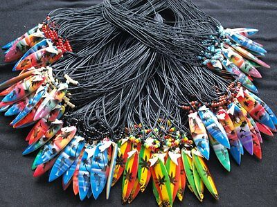 SHARK TOOTH SURFBOARD NECKLACE DOLPHIN ART TURQUOISE RED BROWN BLACK  c-sb20-23