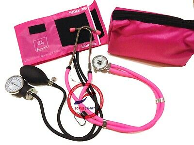 NEW Pink Set- Aneroid Sphygmomanometer Blood Pressure Monitor / Stethoscope