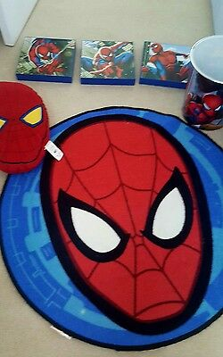 marvel spiderman bedroom accessories rug, pictures,  pillow and bin