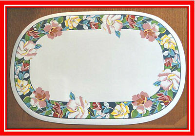 New! Set of 6 Oval Kitchen Placemats Place Mats Dinner Table Decor Flower Design