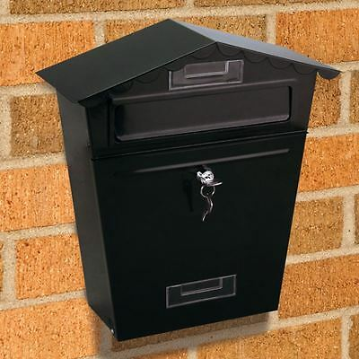 New Large Wall Mounted Metal Letter Post Box Black Gaden Accessories Home Decor