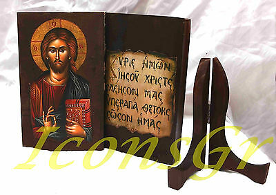Orthodox Wood Double Icon Virgin Mary & Jesus Christ Handmade Wooden Greek 10B