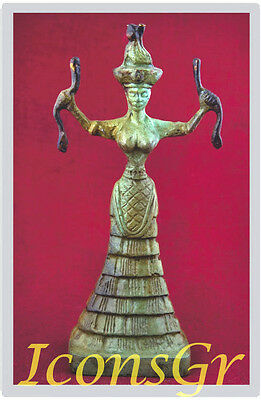 Ancient Greek Bronze Museum Statue Replica Of The Snake Goddess Collectable 1249