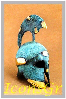 Ancient Greek Bronze Museum Replica Vintage Corinthian Officer Battle Helmet 385