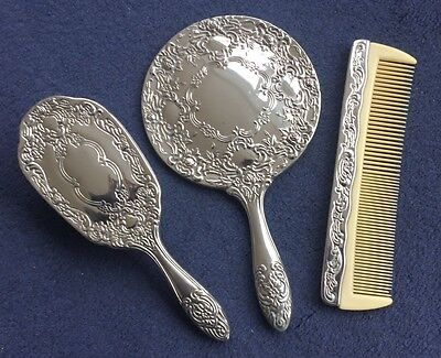 Ornate Vintage Silver Plated Vanity Dressing Table set Rococo style