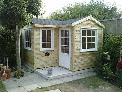 L Shaped Corner Summer House, 'Comes Painted', garden office, log cabin