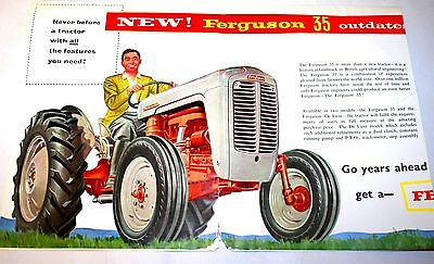 Rare 1956 Ferguson System 35 Tractor Large Fold Out Brochure - Superb Images