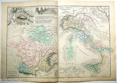 Original 1884 Map of France & Italy During Roman Times by Drioux & Leroy Paris