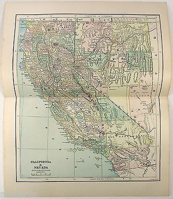 Original 1885 Map of California & Nevada by Phillips & Hunt