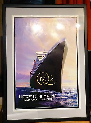 Queen Mary 2 QM2 Cunard poster History in the Making Maiden Voyage 12th Jan 2004