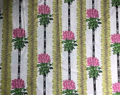 Vintage Retro French Polished Cotton Floral Fabric Suzanne Fontan 1.31m X 4+m