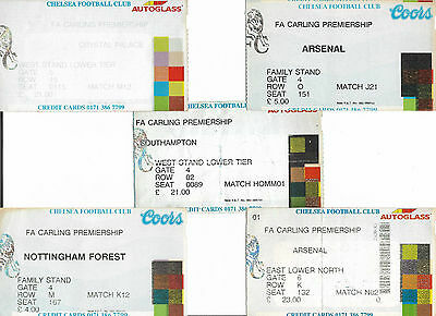 CHELSEA FC - Selection of FA Carling Premiership home tickets from 1990s