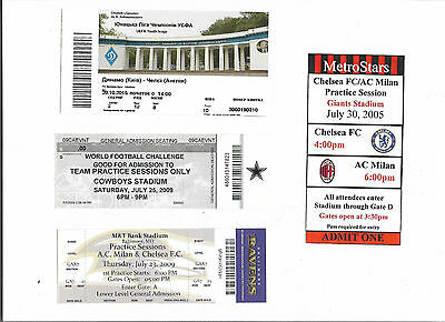 CHELSEA FC - Selection of 4 unusual foreign tickets from USA and Kiev.