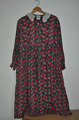 Vintage LAURA ASHLEY Dress 12 14 Floral Roses