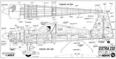 """Ace R/c Extra 230 Plans 30% Scale 87"""" Span"""