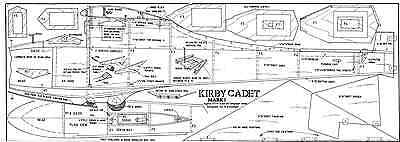 """Kirby Cadet 64"""" Span Approx 1/7Th Scale R/c Glider Plan"""