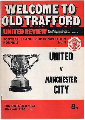 1974/75 Manchester United v Manchester City 9th Oct 1974 League Cup Man Utd