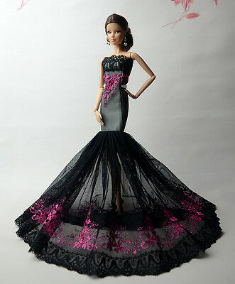 Black Royalty Mermaid Dress Party Dress/Clothes/Gown For Barbie Doll F61
