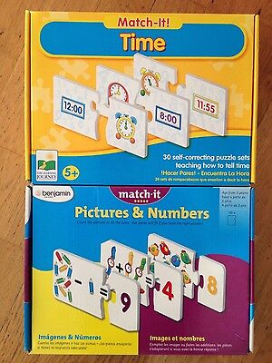 Match-it! 2x Educational Puzzle Sets - 1x Telling the Time 1x Pictures & Numbers