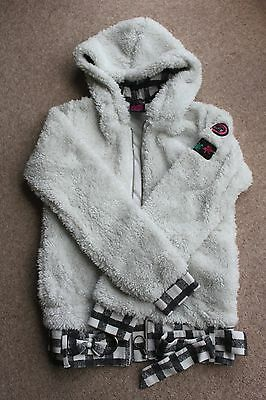 Ripcurl white hooded girls fluffy front zipped fleece - age 14 years