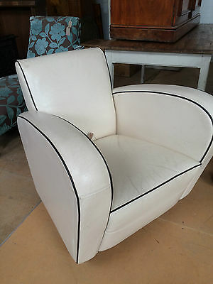 Deco Style Off-white Leather Chair