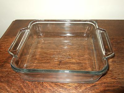 """Vintage Anchor Square Baking Dish 8"""" Clear Glass 2Qt 1035"""