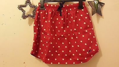 Lilly & Sid girls lined skirt age 6-7 years red with cream spots curved hem NEW