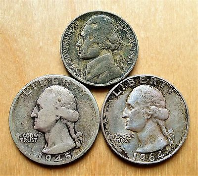United States Silvers, 1943 Nickel, 1945 + 1964 Quarters.