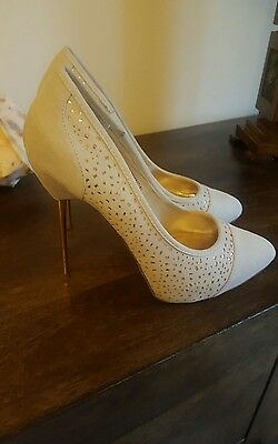 faith ladies shoes size 6 cream suede stunning heels