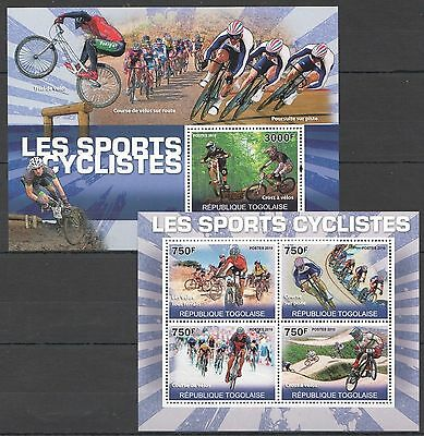 A218 2010 Republique Togolaise Cycling Bicycle Sport Bikes Trial Kb+Bl Mnh
