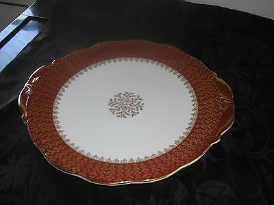 QUEEN ANNE China Cake Plate Red and Gold Cake Plate