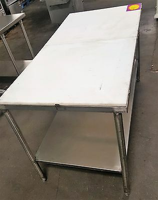 "Stainless Steel Poly Trimming Table 60"" x 30"" Commercial Kitchen Tables"