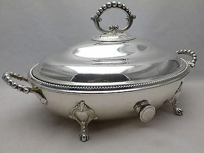 Vintage Silver Plate Oval Lidded Serving Tureen -Dish with Hot Water Reservoir