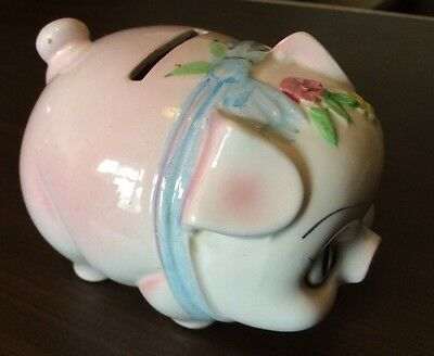 """Pink Flowered Piggy Bank,With Stopper,No Cracks Or Chips,Medium Size,H,31/4""""W 4"""""""