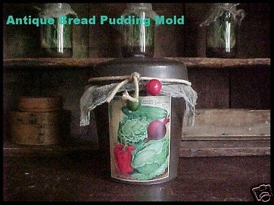 Antique Primitive Plum Pudding Steamed Bread Tin Mold Vtg Aged Patina Seed Label