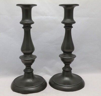"Pair Antique English Georgian Pewter 9"" Candlesticks on Round Bases - Injectors"