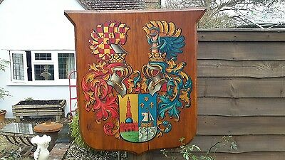 Antique Wooden Sheild, Coat Of Arms, Display, Prop, Wall Hanging