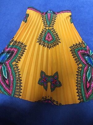 Awesome Vintage 70s Psychedelic Pleated Midi Skirt