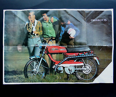 POSTER BROCHURE : PEUGEOT 75 - CYCLOMOTEURS - French Advertissing -