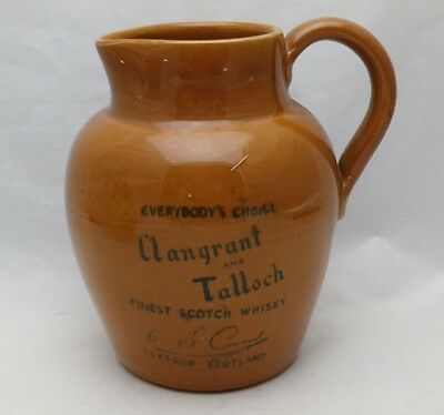 Vintage Advertising Water Jug Clan Grant & Talloch Whisky Glasgow Distillery