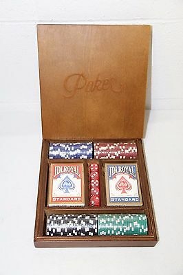 World Market Luckies 100 Chip Poker Set with Wood Case, NEW, Sealed Contents!